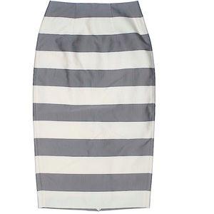 BURBERRY London striped mid-length pencil skirt